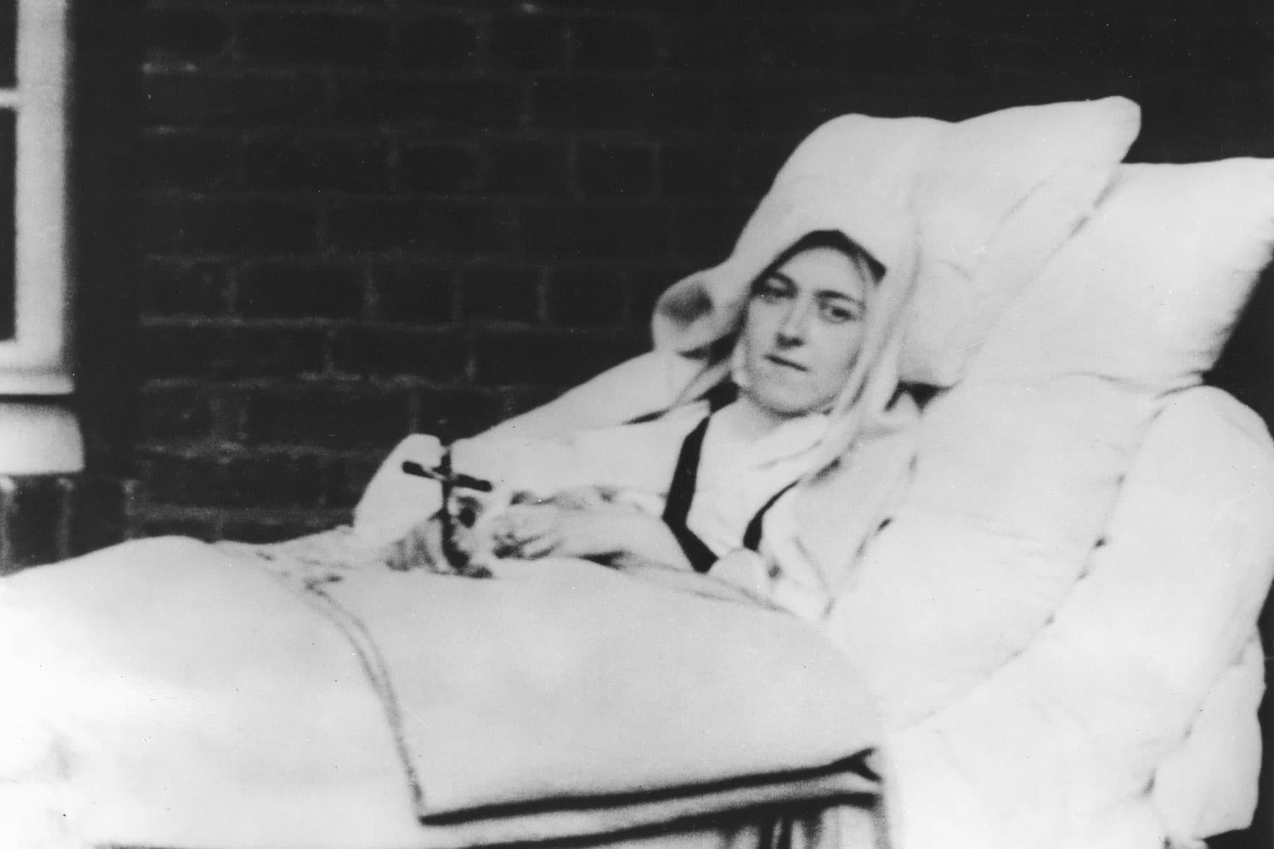 St. Therese on the outdoor porch at Carmel during her illness