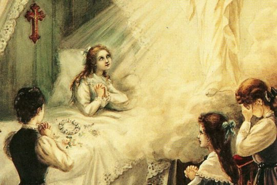 Painting depicting St. Therese's healing by Our Lady of the Smiles