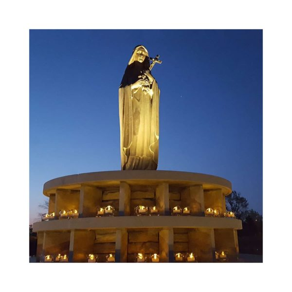 St. Therese statue and prayer grotto at National Shrine of St. Therese
