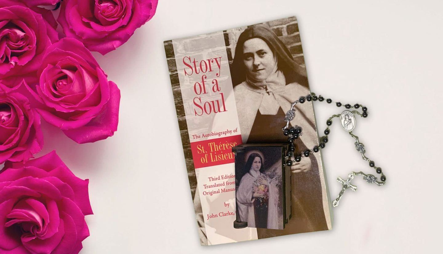 Story of a Soul book and rosary
